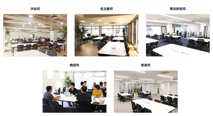 テック・キャンプは東京・名古屋・大阪などには複数の教室がある