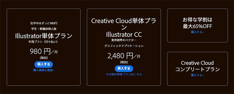 イラストレーターの価格