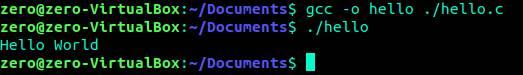 Cのhelloworldの実行結果