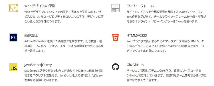 Webデザインコースのカリキュラム